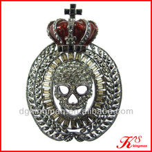 Crystal And Enamel Skull Rhinestone Crown Brooch