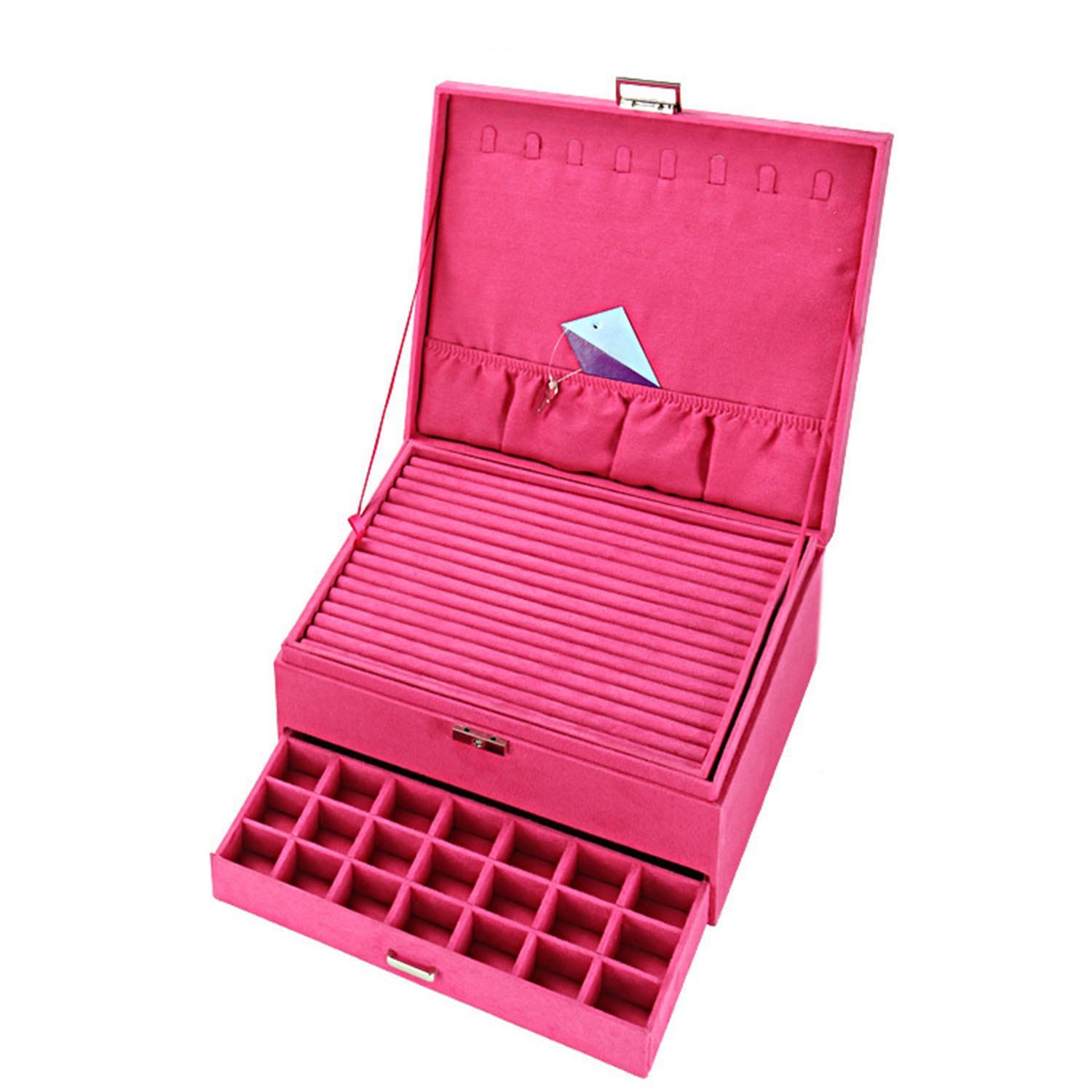 Drawer Design Multi Layers Necklace Hooks Packaging Ring Holders Large Leather Jewelry Display Box with Many Compartments