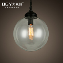 Round Transparent Glass Ball Lampshade Lightings indoor Creative Chandelier Lamps Restaurant Minimalist Pendant Light