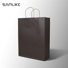 large size 12.6x15.75x4.33 inch shopping food clothes use kraft brown paper bag with handles