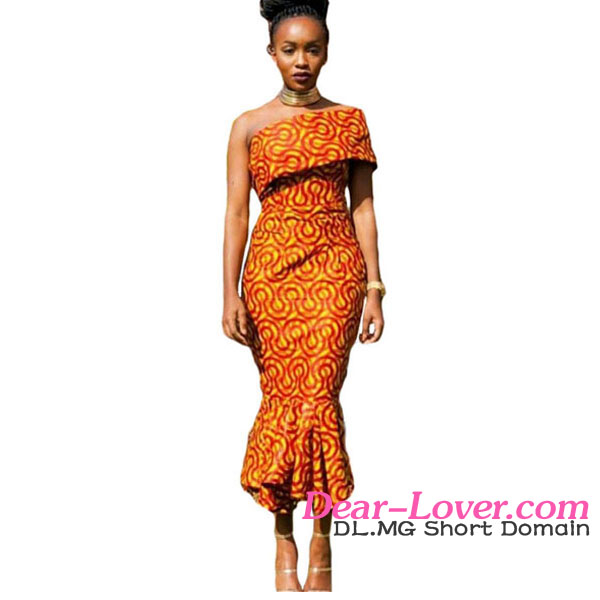 2016 Latest Sexy Ladies Single Shoulder Mermaid Hem African Printed Dress