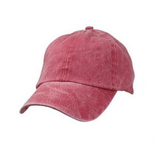 Red Blank Hat Pigment Dyed Washed Cotton Baseball Cap