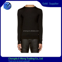 2015 Wholesale Cotton Fabric Long Sleeve Slim Fit T shirts Plain Black