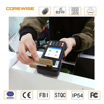 Handheld android mobile touch screen pos terminal with printer rfid fingerprint barcode scanner msr