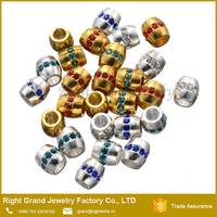 Colorful Big Hole Custom Beads Crystal Zinc Alloy Bracelet Beads Gold Plated Metal Big Hole Beads for Jewelry Making