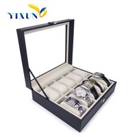 Luxury leather Watch case with clear window strong box