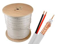 RG59 Siamese UL Listed 20AWG Solid Copper Coaxial Cable + 18AWG/2 Power, White, 1000 ft, Spool
