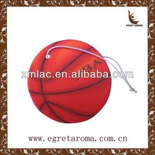 red basketball air freshener ball with elastic band for hanging