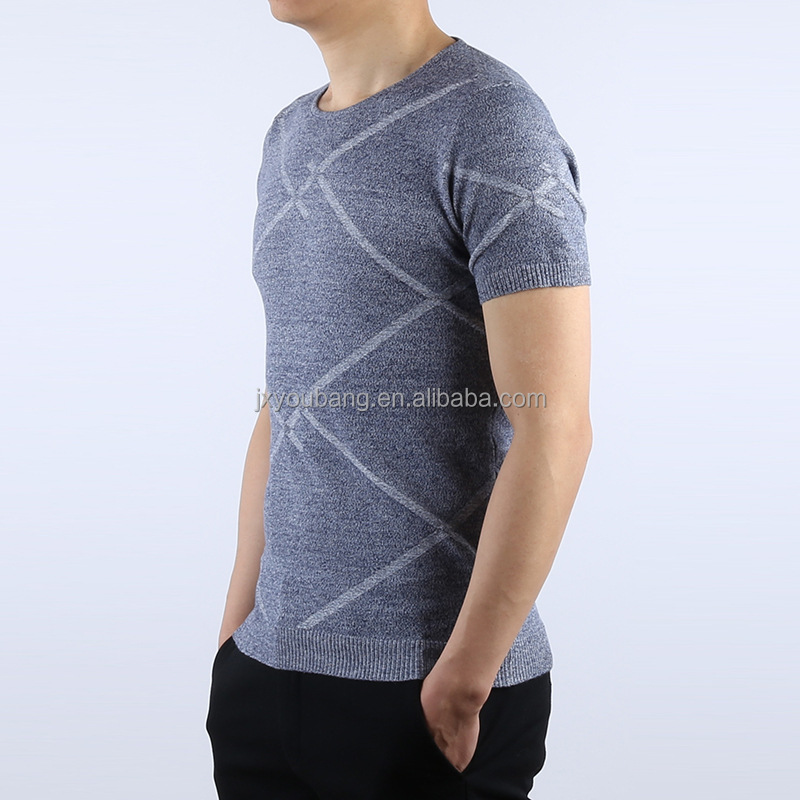 Cheap western style crew neck short sleeve slim fit short sleeve summer man's jacquard sweater