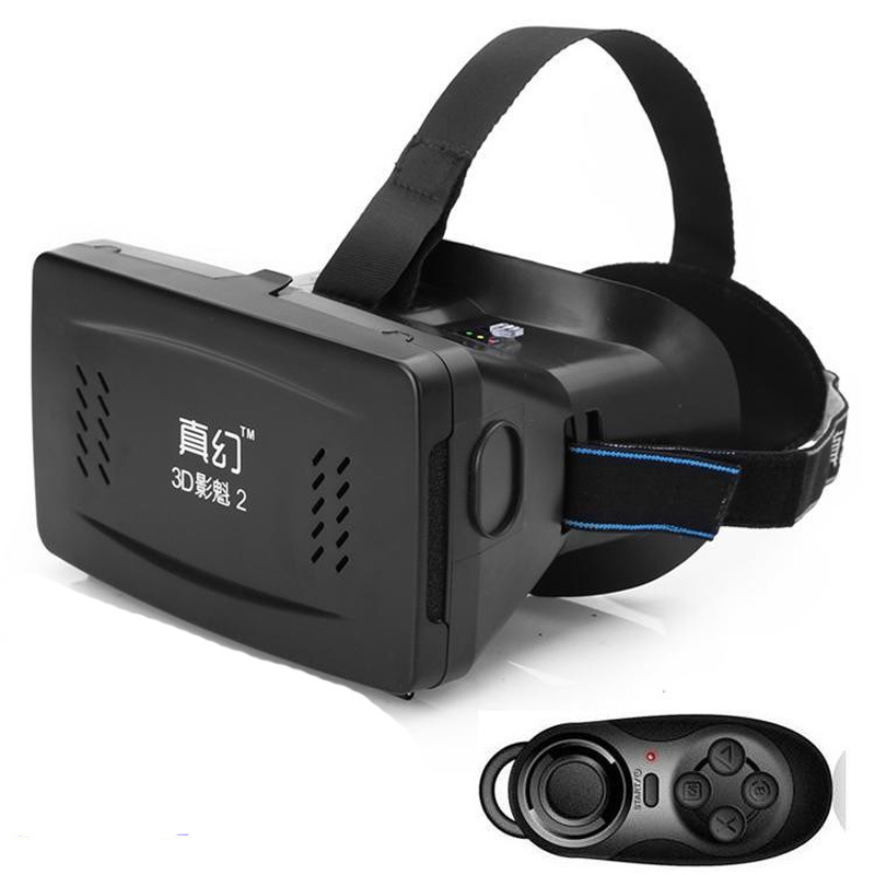 VR Virtual Reality 3D Glasses RITECH II Head Mount +Bluetooth Gamepad Control for 3.5-6 inch Smartphone