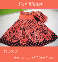 Winter wholesale girl dress kids party wear baby dress frock designs with flower printed for girls fashion design small girls
