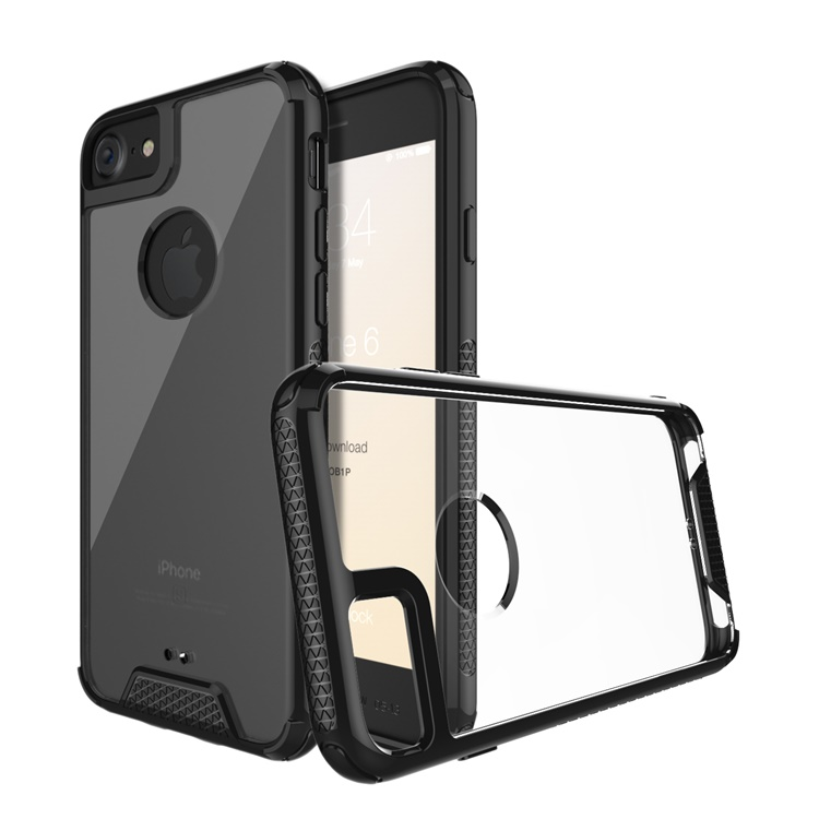 Flexible TPU Bumper Anti-Scratch transparent for iphone 7 case with hard pc