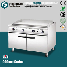 900mm large capacity free standing stainless steel full flat plate gas griddle with cabinet