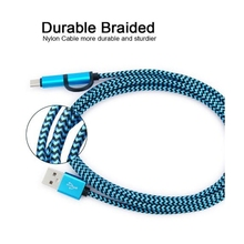 Universal braided nylon micro 3.1 type c data transfer 2 in 1 usb cable