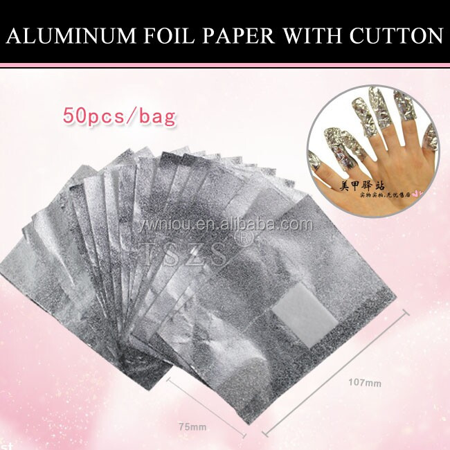 NT-76 factory price gel nail wrap aluminum foil sheet with cotton pad for nail polish remover