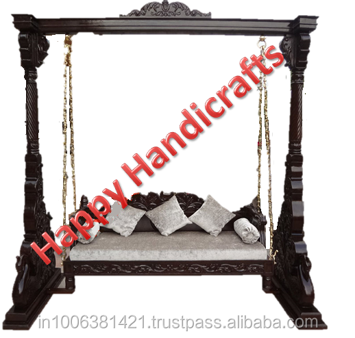 Indian wooden indoor beautiful hand made hand carved royal decorative swings