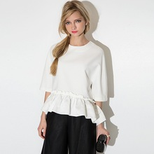 NS2119 Young Girls New Fashion White RuffLE Blouses for Elegant Ladies