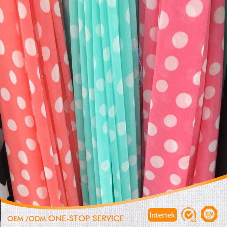 100D printed polyester polka dot chiffon fabric for dress wholesale