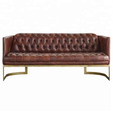 Vintage Style Metal Frame Leather Sofa Set <strong>Furniture</strong>