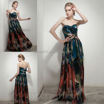 astergarden hot styles sweetheart floor-length printed evening dresses colored party gowns
