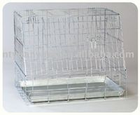 galvanized sloping dog crate cage with one door