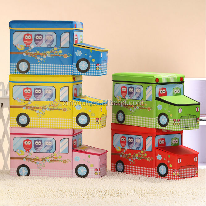 Cars Jumbo Storage Box Room Toy Tidy Lid Boys Girls Chest Bed Clothes Seat Collapsible Fabric Storage Boxes