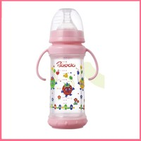 Safe and Unbreakable Wide Neck glass baby feeding bottle with protective cover