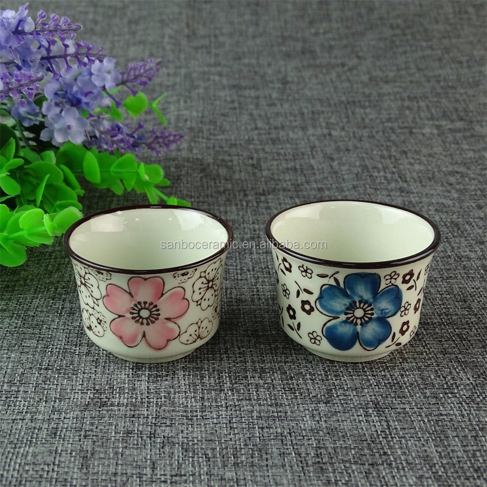 stocklot Japanese style porcelain tea cups mugs with decal printed for wholesale