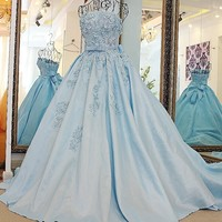 LS67128 Real removable band belt ball gown dress women strapless short puffy prom dresses latest long gown light blue prom dress