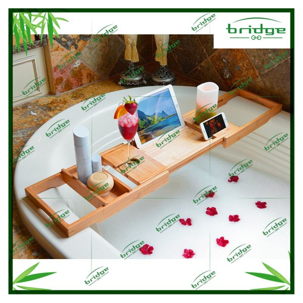 WOOD Bathtub Caddy, Bamboo Shower Bath Tub Tray Organizer with Extending Sides
