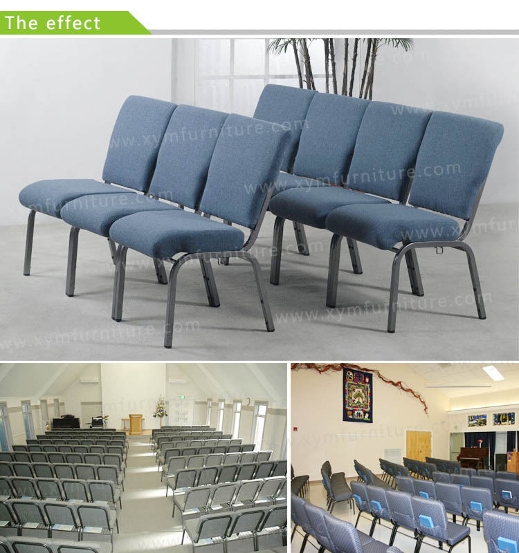 factory price metal interlocking cheap church chair