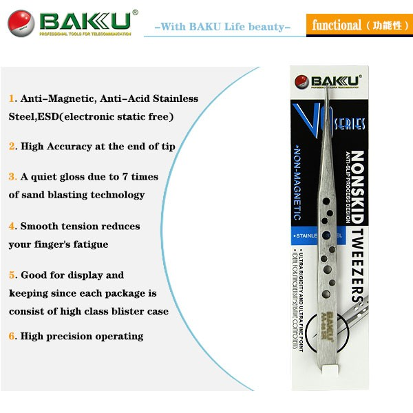BAKU BK-V9 Professional Smart Precision Volume Lash Tweezers With Stainless Steel For Eyelash Extension And Stamp
