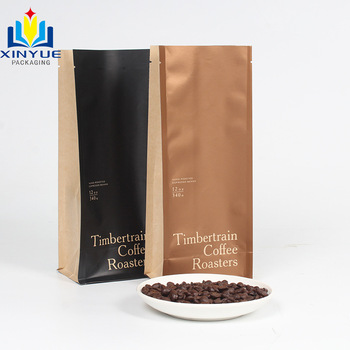 customer printed plastic mylar foil kraft paper laminated flat bottom packaging pouch for coffee bean bags with one-way valve