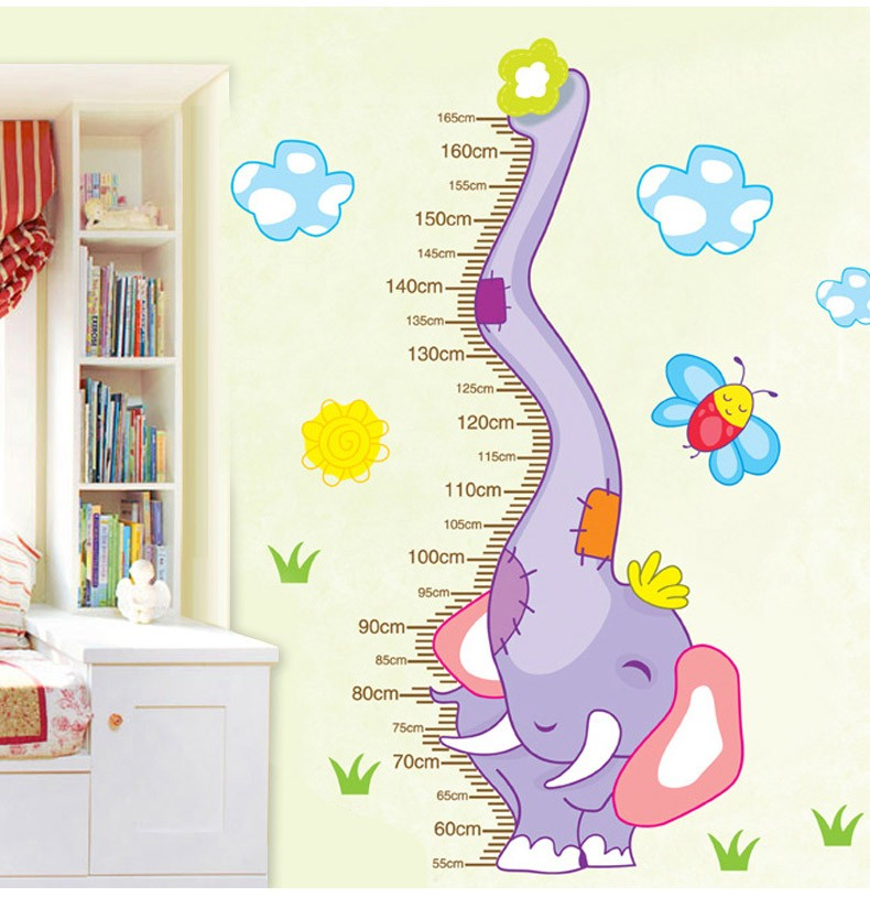 Cartoon Elephant Height Increases Measurement Sticker Removable Diy Vinyl Quote Wall Sticker Poster Children's room decoration