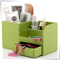 Artificial leather acrylic cosmetic box for girls and ladies