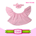 Latest Design Wholesale Summer Children Ruffle Loose Blouse Baby Off Shoulder Top
