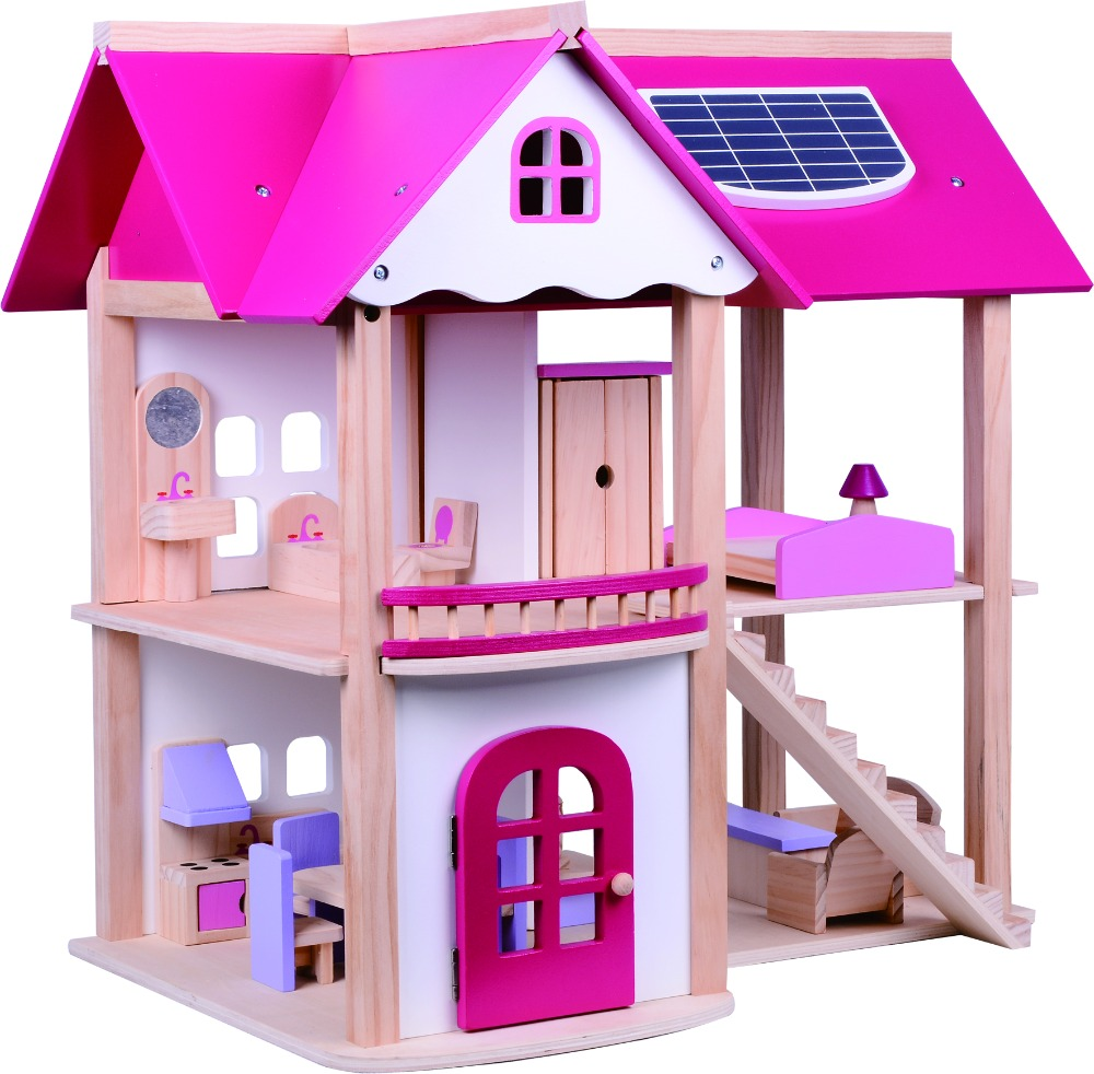 Pink Fairy Tale Princess Toys Kids Wooden Doll House