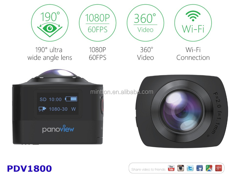 2016 New Arrival 360 Sports Video Camera WIFI H.264 Action camera underwater 360 Degree Panorama VR Camera