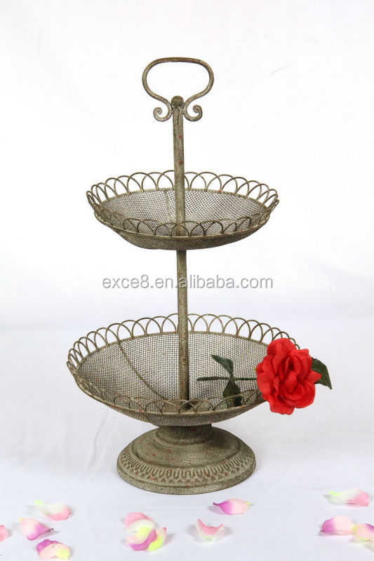 2015 New product rustic 3 tier fruit basket stand
