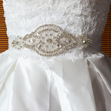 Wholesale silver beaded pearl decorative belt Crystal Rhinestone Applique wedding garment accessories