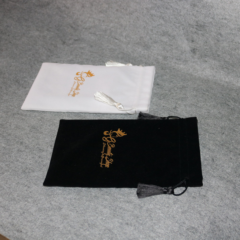 Large Custom Printed Cosmetic Packaging Velvet Drawstring Bags