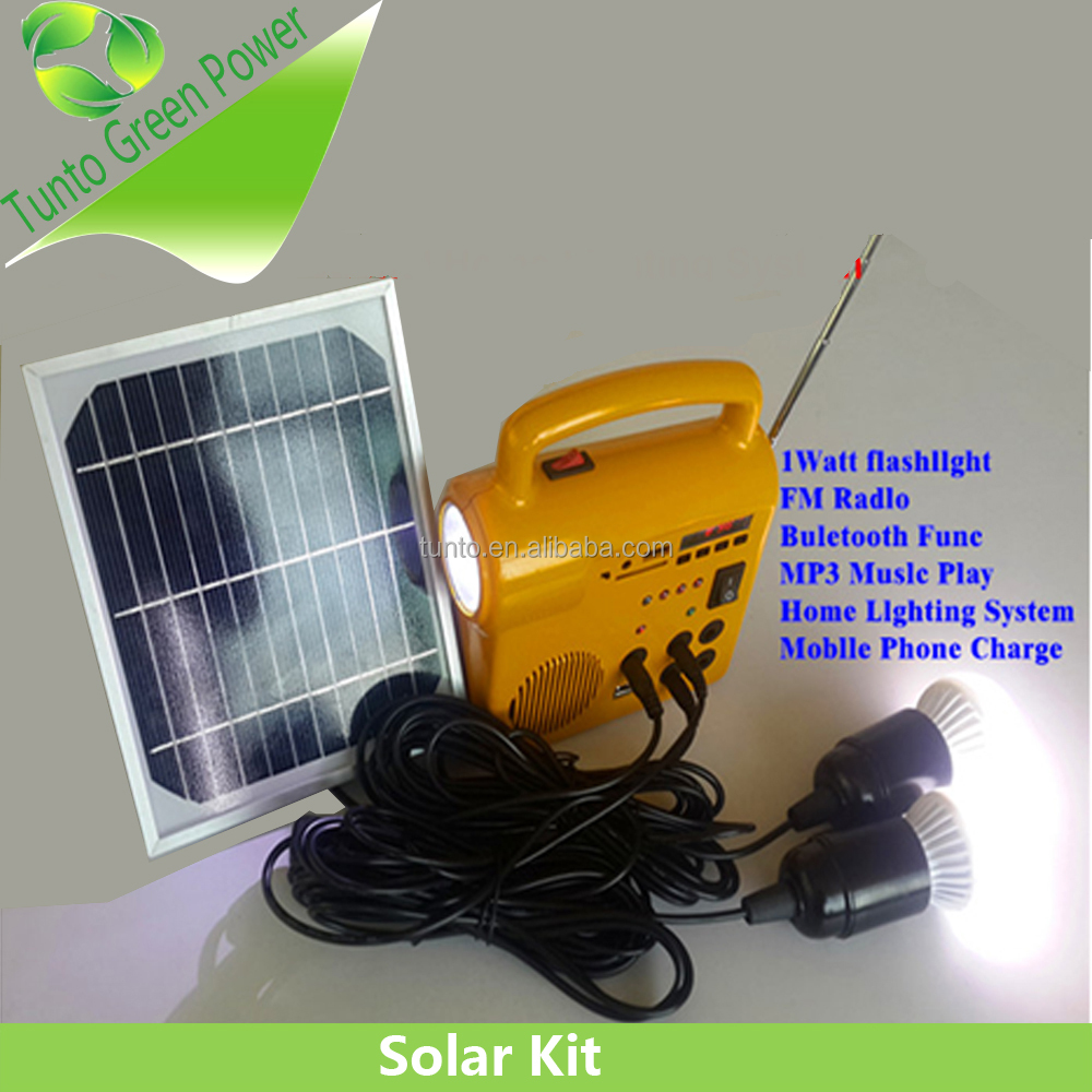 220V/110V AC adapter portable Solar system kits,working time 1 LED 28hours ,2 LED 14 hours with 3m Waterproof cable