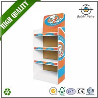 Custom new style cardboard floor display stand Paper display rack with plastic hooks