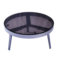 Molded design grey or red round Glass Top silver powder coated aluminum coffee Table