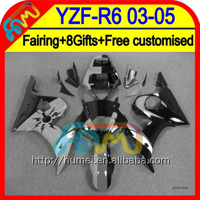 Grey black 8Gifts+ For YAMAHA YZF-R6 03-04 YZF R6 YZF R 6 2003 2004 Grey 46# blk HM9481 YZF600 YZF 600 YZFR6 03 04 Fairing Kit