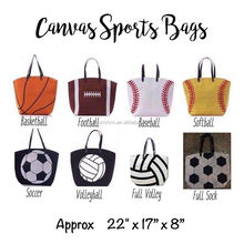 Free Shipping Wholesale Personalized Canvas Sports Baseball Tote bags,Summer Women Handbags