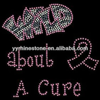 Wild about a cure with pink ribbon rhinestone transfer design