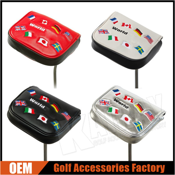 Custom Golf Square Mallet Putter Head Covers, National Flag PU Leather Magnetic Covers