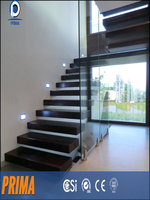 oak wooden floating straight staircase(PR-2129)