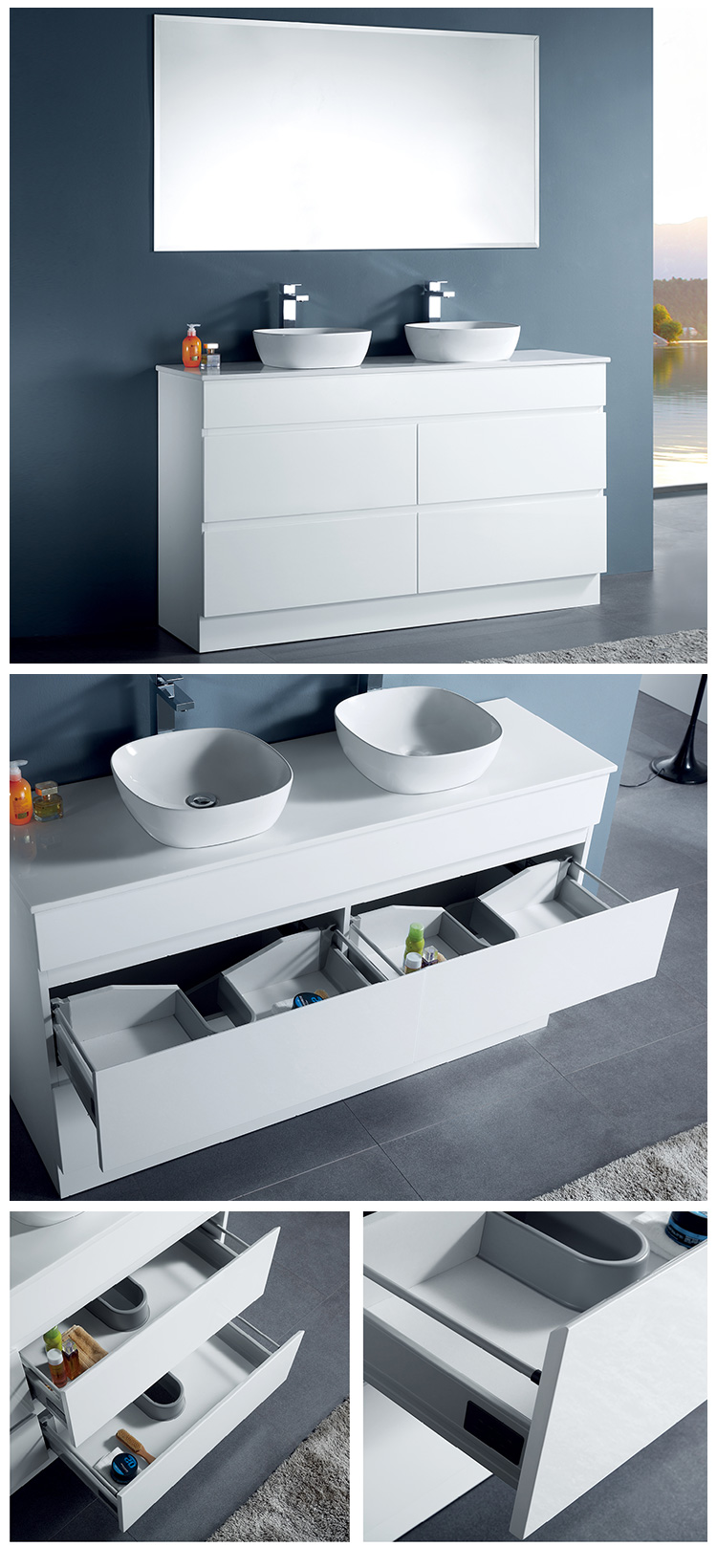 Hot Sale Custom Colour Modern Set French Style Cabinet Bathroom Furniture Vanity